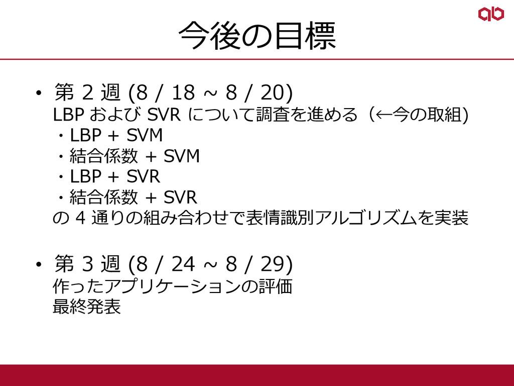 今後の目標 • 第 2 週 (8 / 18 ~ 8 / 20) LBP および SVR につい...