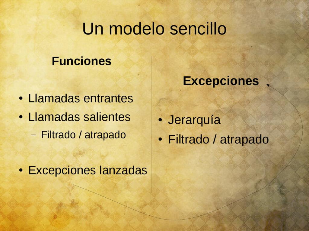 Un modelo sencillo Funciones ● Llamadas entrant...