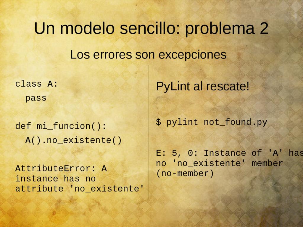 Un modelo sencillo: problema 2 class A: pass de...