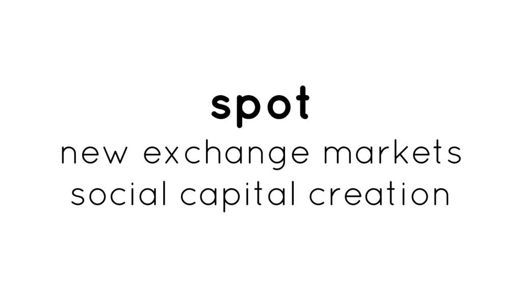 spot new exchange markets social capital creati...