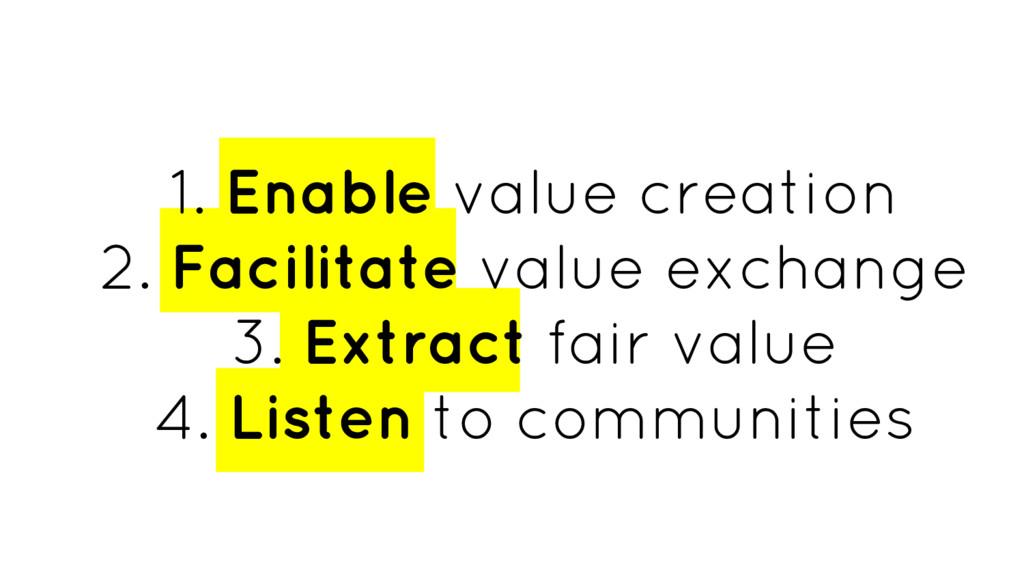 1. Enable value creation 2. Facilitate value ex...