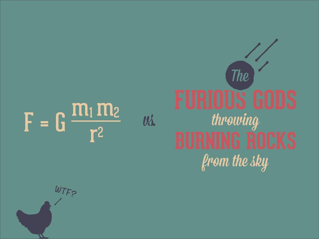 FURIOUS GODS z F = G vs. The m1 m2 r2 BURNING R...