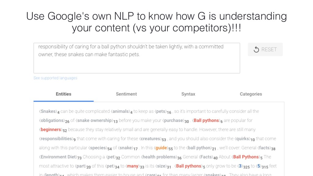Use Google's own NLP to know how G is understan...