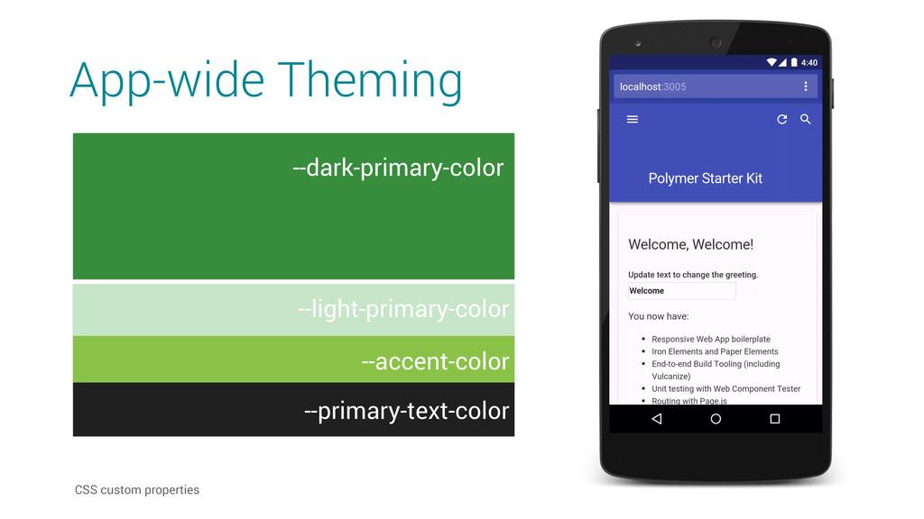 App-wide Theming #303f9f CSS custom properties ...