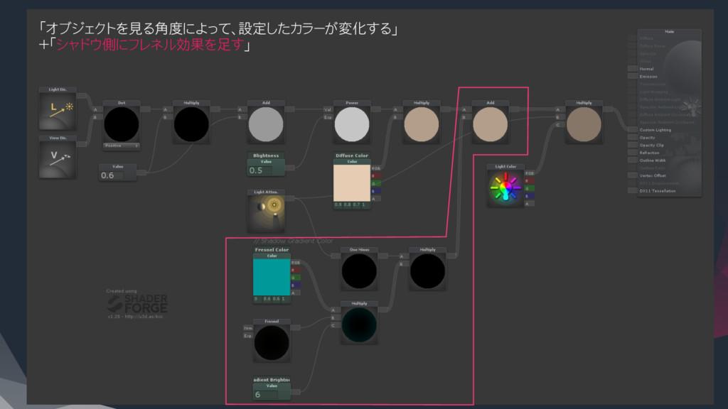 「オブジェクトを見る角度によって、設定したカラーが変化する」 +「シャドウ側にフレネル効果を足...