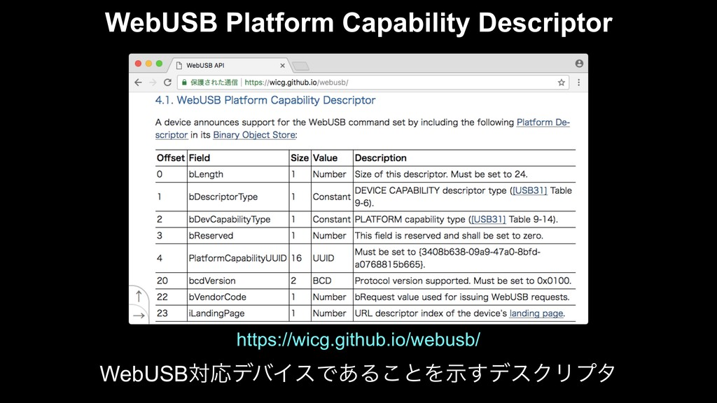 WebUSB Platform Capability Descriptor WebUSBରԠσ...
