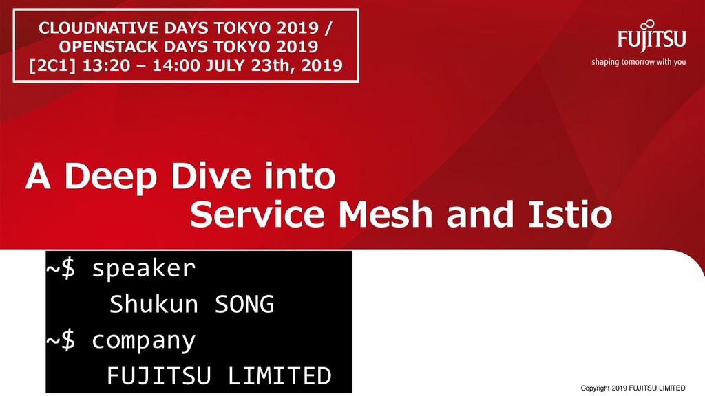 A Deep Dive into Service Mesh and Istio 0 ~$ sp...