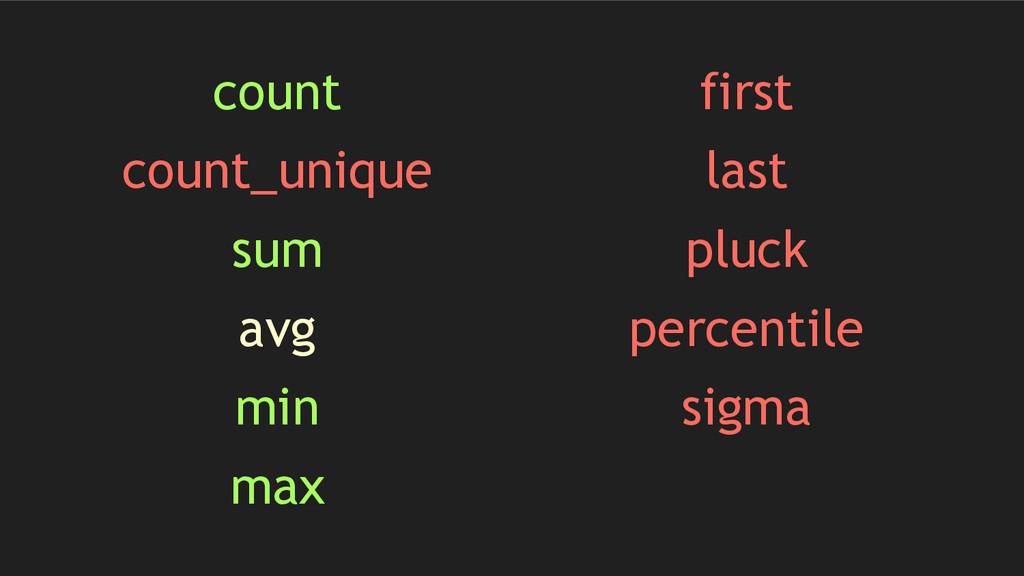 count count_unique sum avg min max first last p...