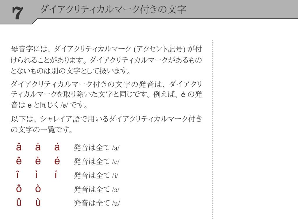 7 ダイアクリティカルマーク付きの文字 母音字には、 ダイアクリティカルマーク (アクセント記...
