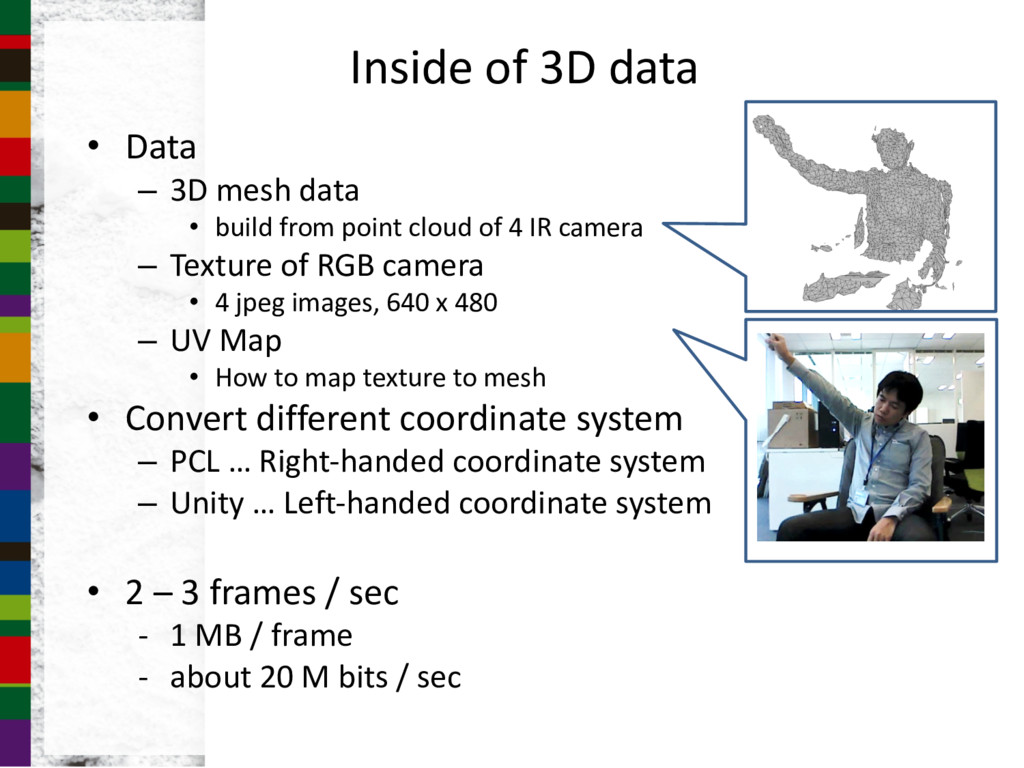 • Data – 3D mesh data • build from point cloud ...