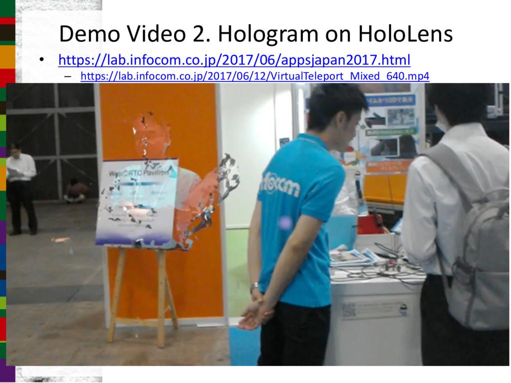 Demo Video 2. Hologram on HoloLens • https://la...
