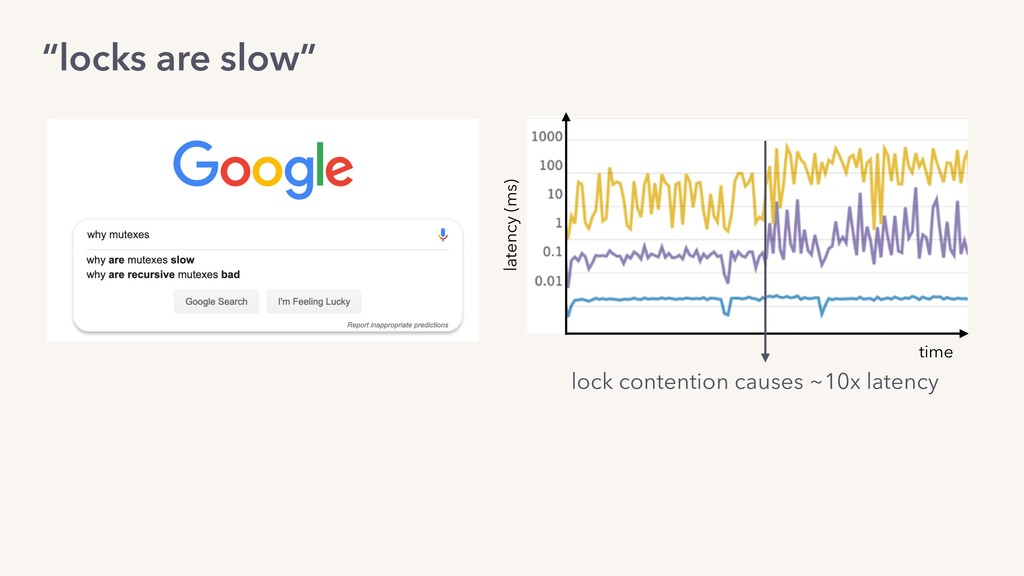 """locks are slow"" lock contention causes ~10x la..."