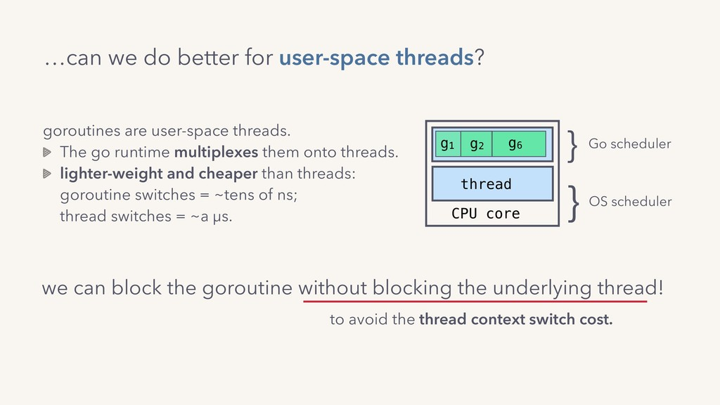 …can we do better for user-space threads? gorou...