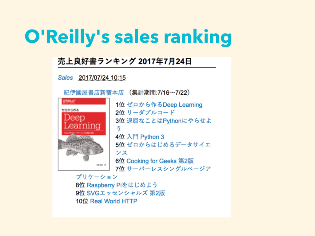 O'Reilly's sales ranking