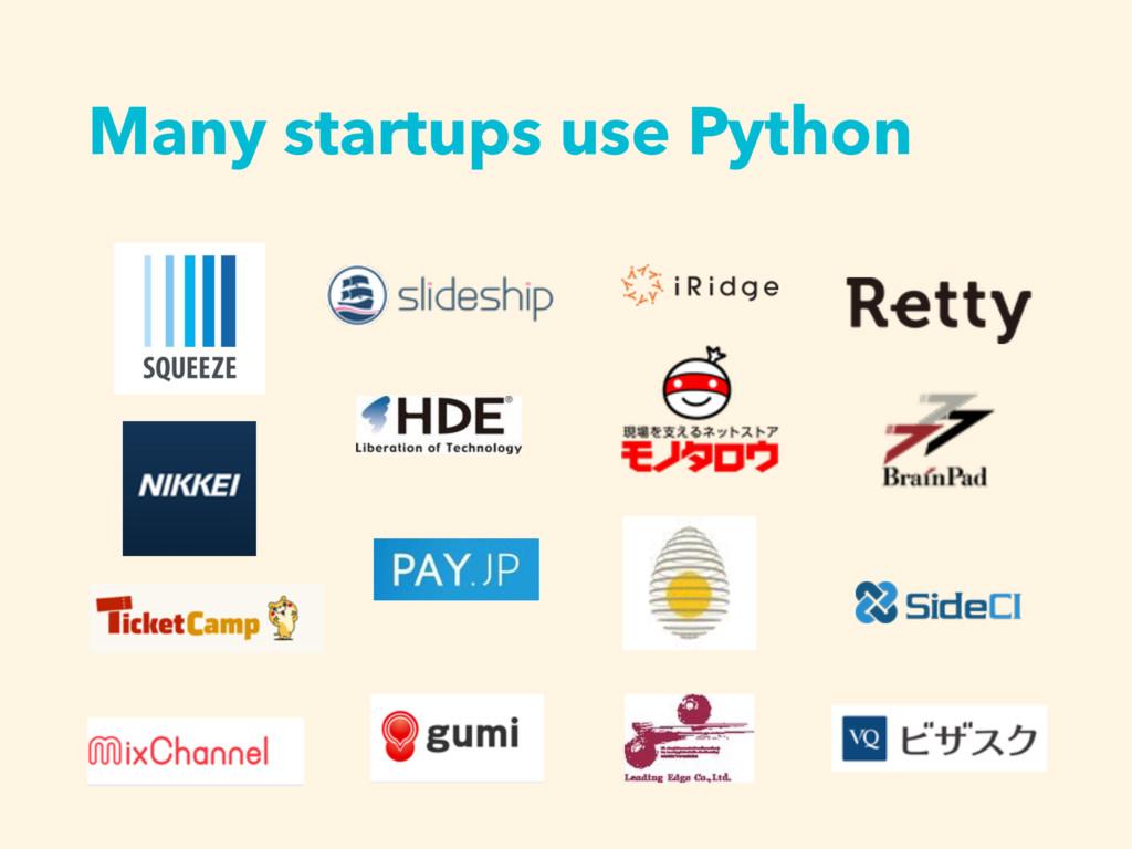 Many startups use Python