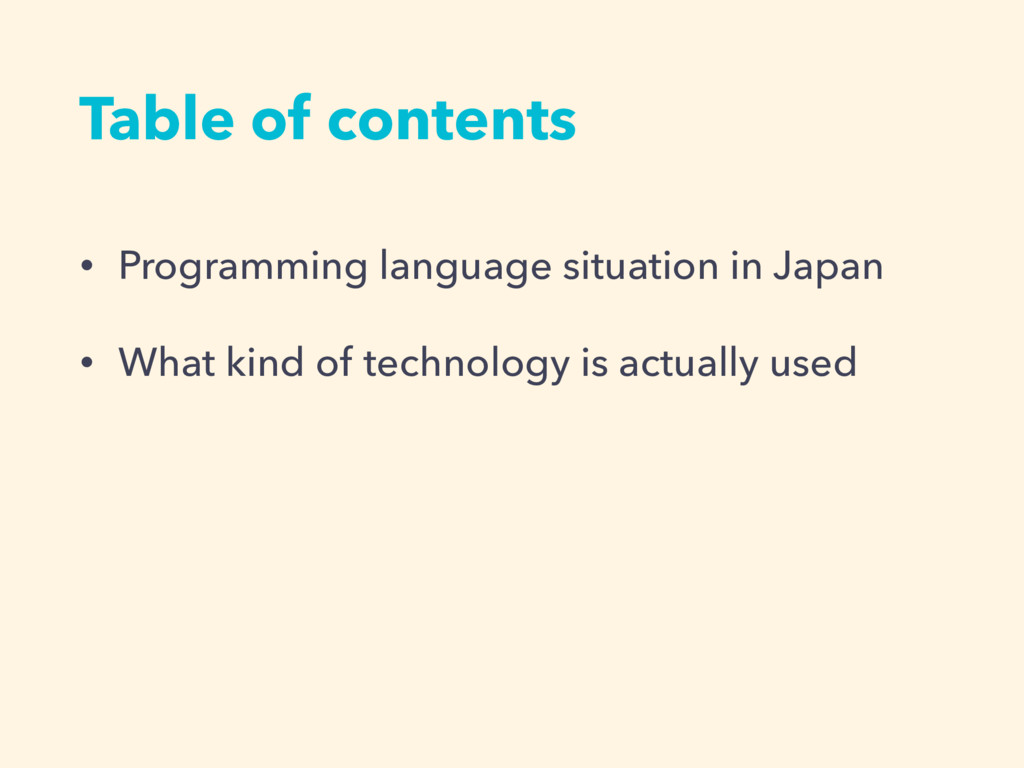 Table of contents • Programming language situat...