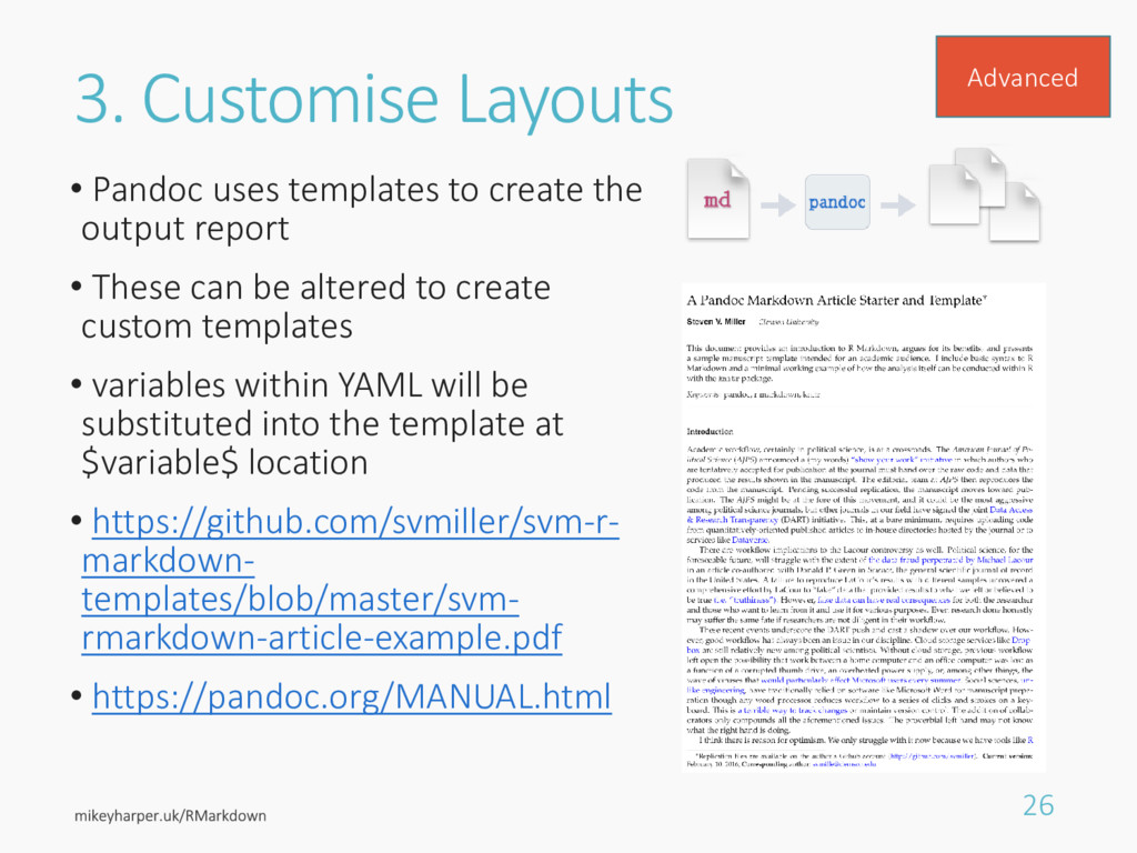 3. Customise Layouts • Pandoc uses templates to...