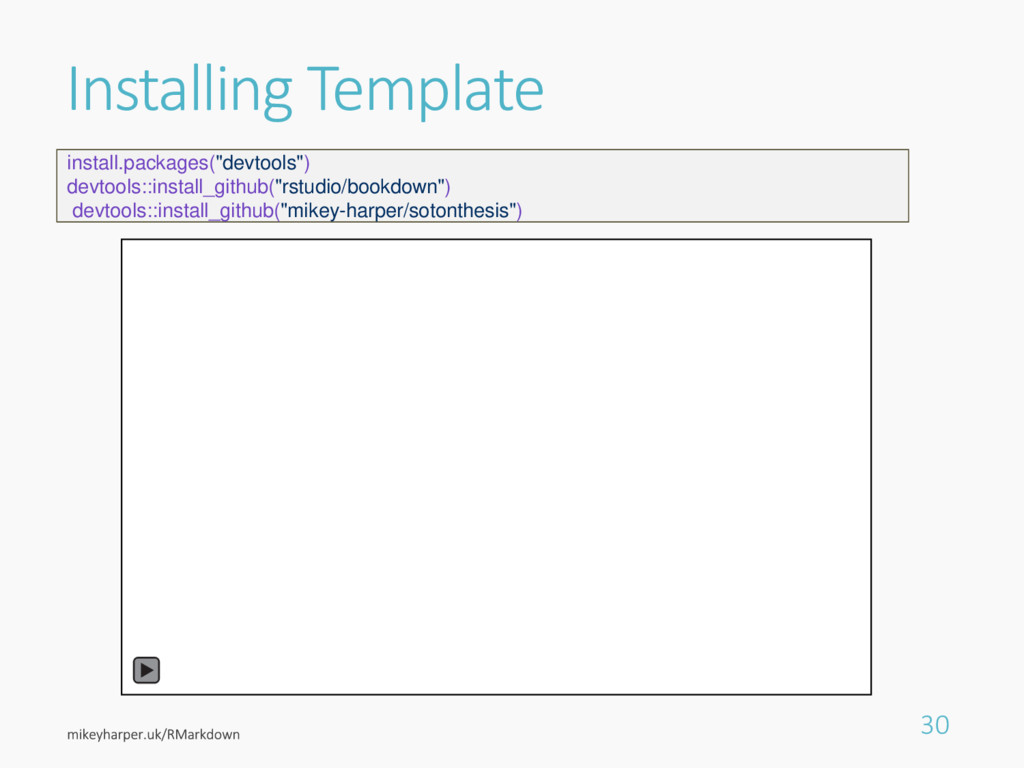 """Installing Template 30 install.packages(""""devtoo..."""