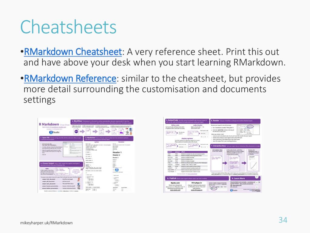 Cheatsheets •RMarkdown Cheatsheet: A very refer...