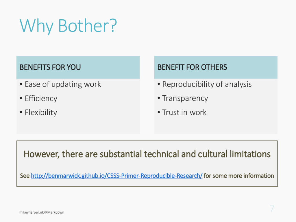 Why Bother? BENEFITS FOR YOU • Ease of updating...