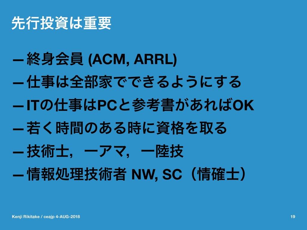 ઌߦॏཁ —ऴձһ (ACM, ARRL) —શ෦ՈͰͰ͖ΔΑ͏ʹ͢Δ —ITͷ...