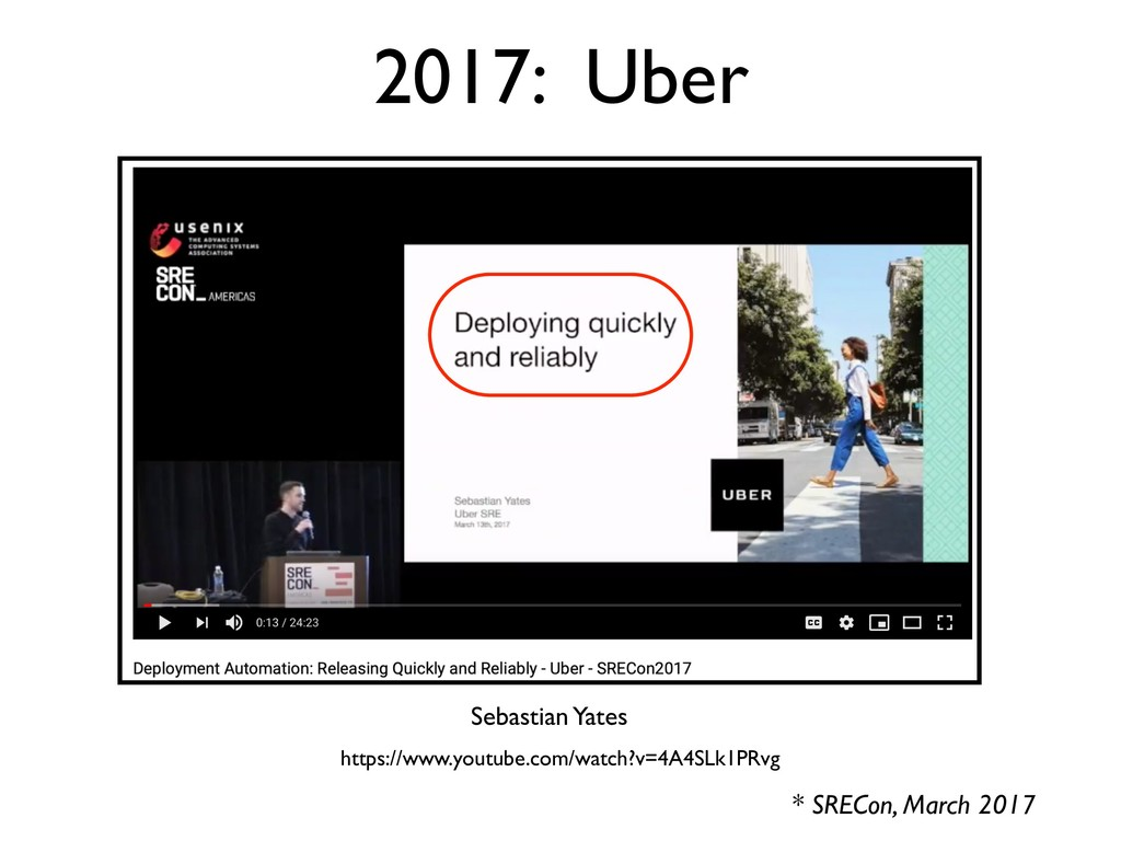 2017: Uber * SRECon, March 2017 Sebastian Yates...