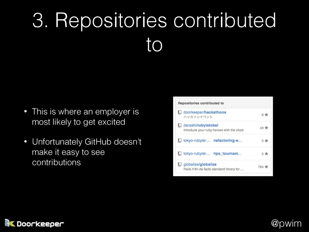 @pwim 3. Repositories contributed to • This is ...