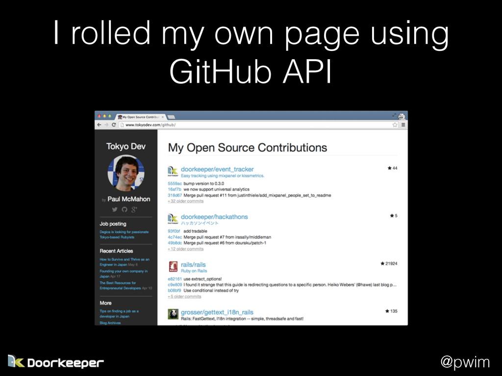 @pwim I rolled my own page using GitHub API