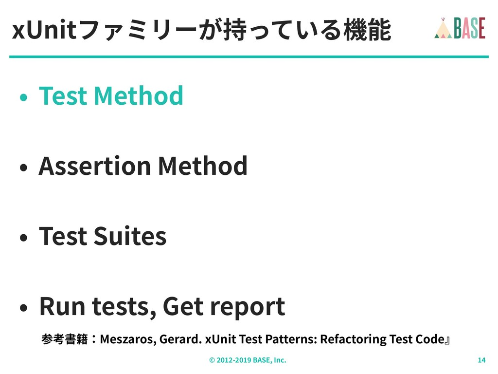 © - BASE, Inc. xUnitファミリーが持っている機能 • Test Method...