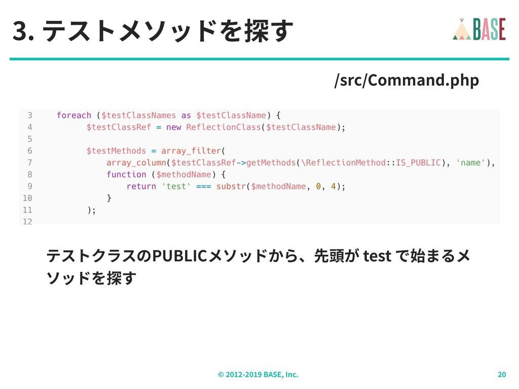 © - BASE, Inc. 3. テストメソッドを探す /src/Command.php テ...