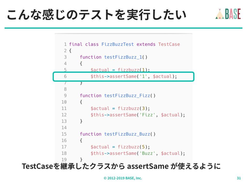 © - BASE, Inc. こんな感じのテストを実⾏したい TestCaseを継承したクラス...