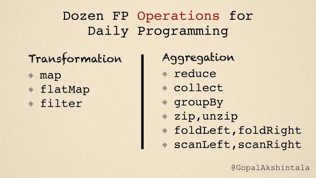 Transformation map flatMap filter Aggregation r...