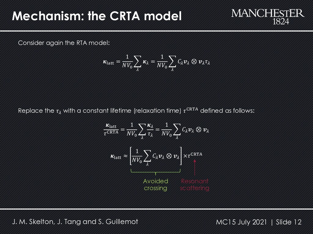 Mechanism: the CRTA model Consider again the RT...