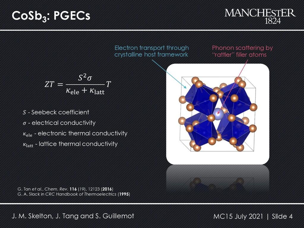 CoSb3 : PGECs J. M. Skelton, J. Tang and S. Gui...