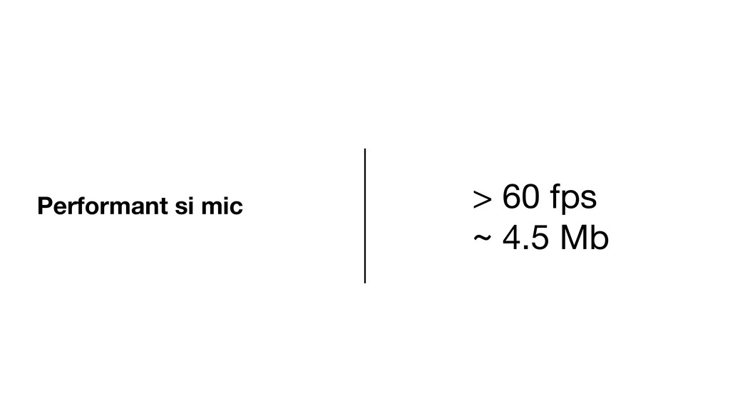 Performant si mic > 60 fps  ~ 4.5 Mb