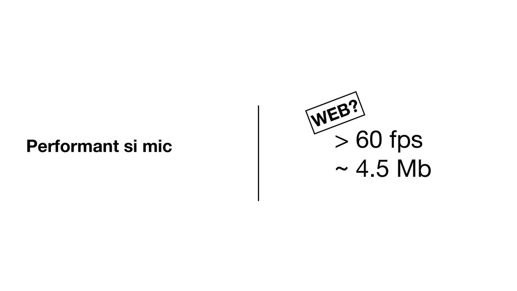 Performant si mic > 60 fps  ~ 4.5 Mb WEB?