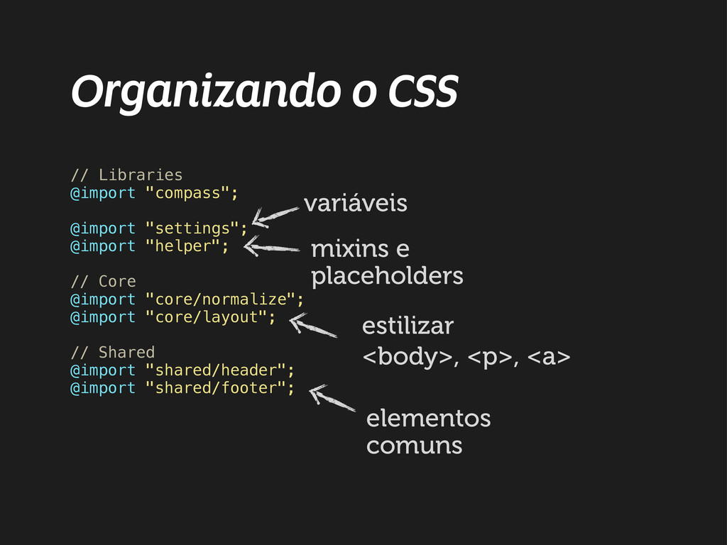 "Organizando o CSS // Libraries @import ""compass..."