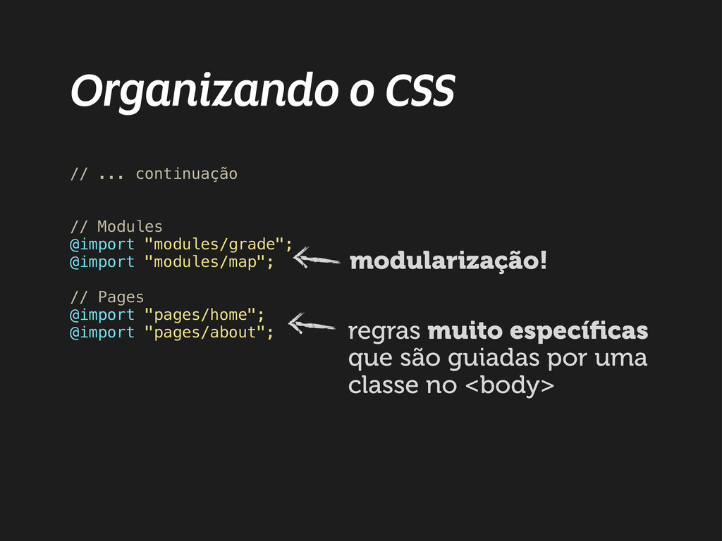 Organizando o CSS // ... continuação // Modules...