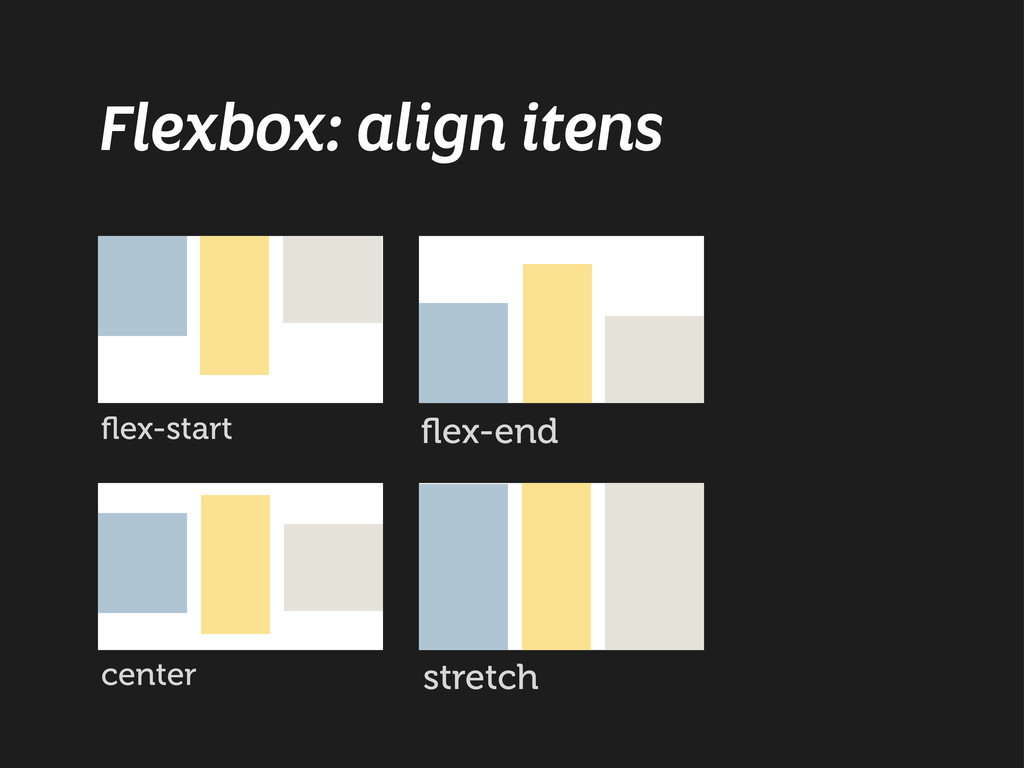 Flexbox: align itens flex-start flex-end center s...
