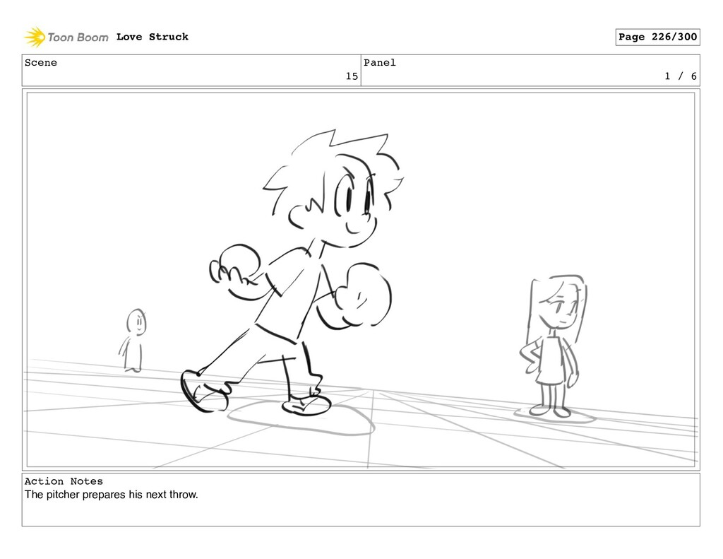 Scene 15 Panel 1 / 6 Action Notes The pitcher p...
