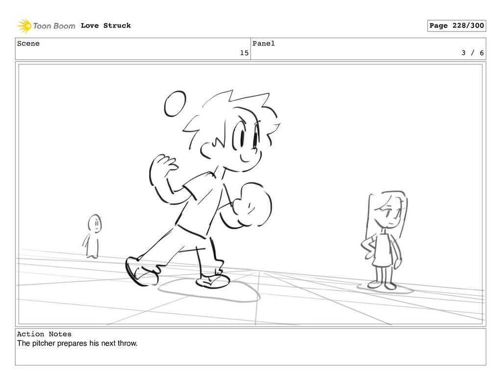 Scene 15 Panel 3 / 6 Action Notes The pitcher p...