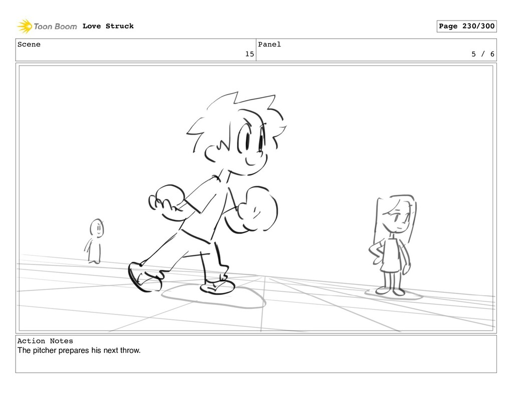 Scene 15 Panel 5 / 6 Action Notes The pitcher p...
