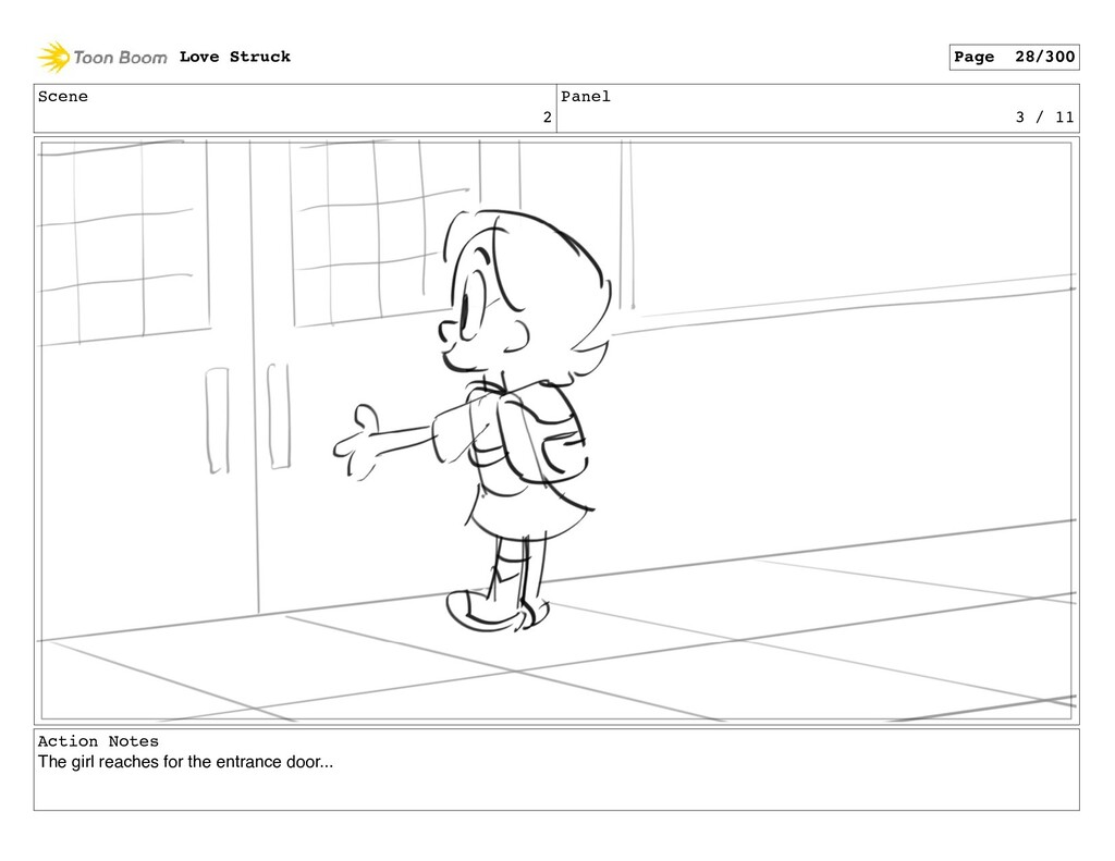 Scene 2 Panel 3 / 11 Action Notes The girl reac...