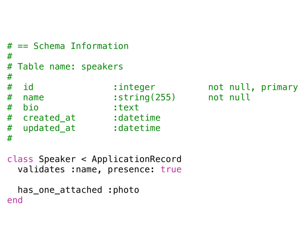 # == Schema Information # # Table name: speaker...