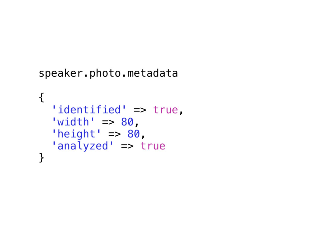 speaker.photo.metadata { 'identified' => true, ...