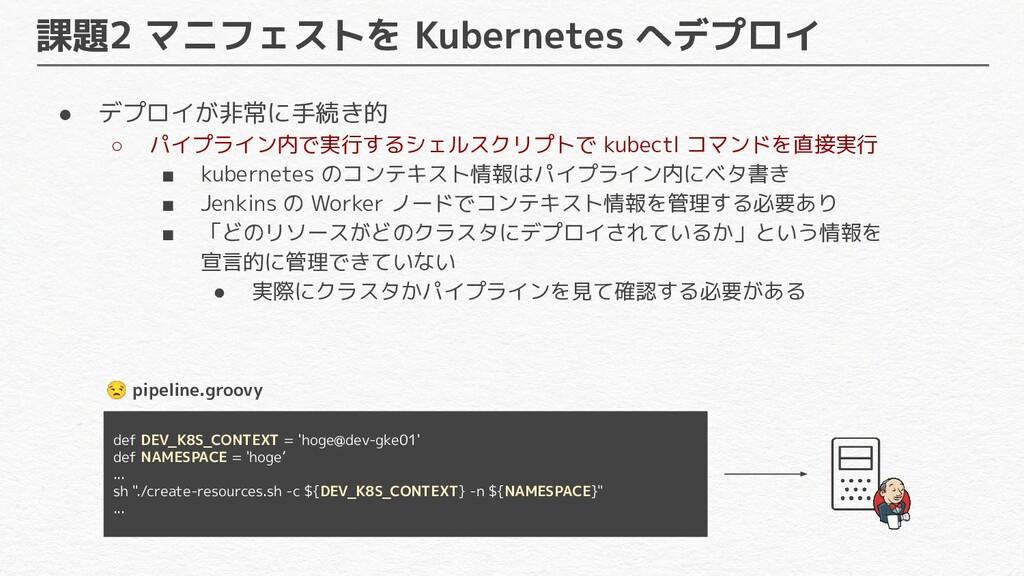 課題2 マニフェストを Kubernetes へデプロイ ● デプロイが非常に手続き的 ○ パ...