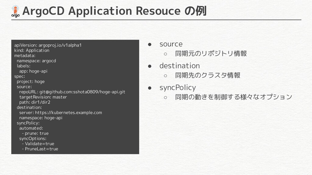 ArgoCD Application Resouce の例 apiVersion: argo...