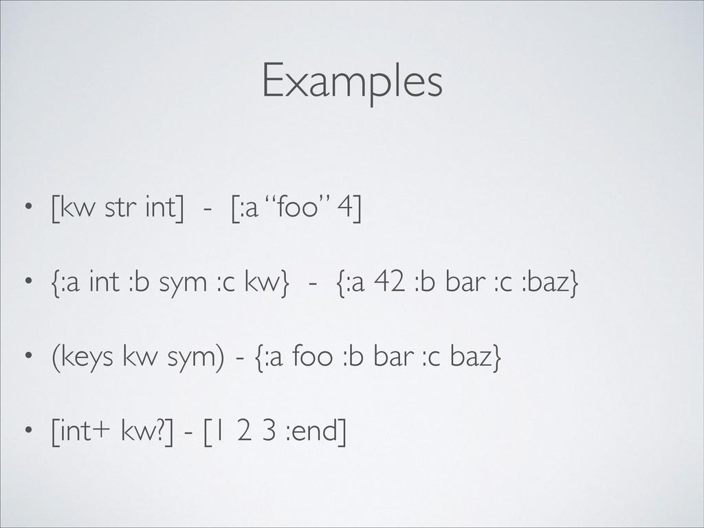 "Examples • [kw str int] - [:a ""foo"" 4]  • {:a..."