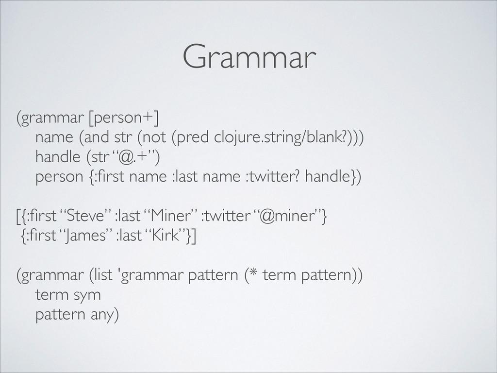 Grammar (grammar [person+]  name (and str (no...