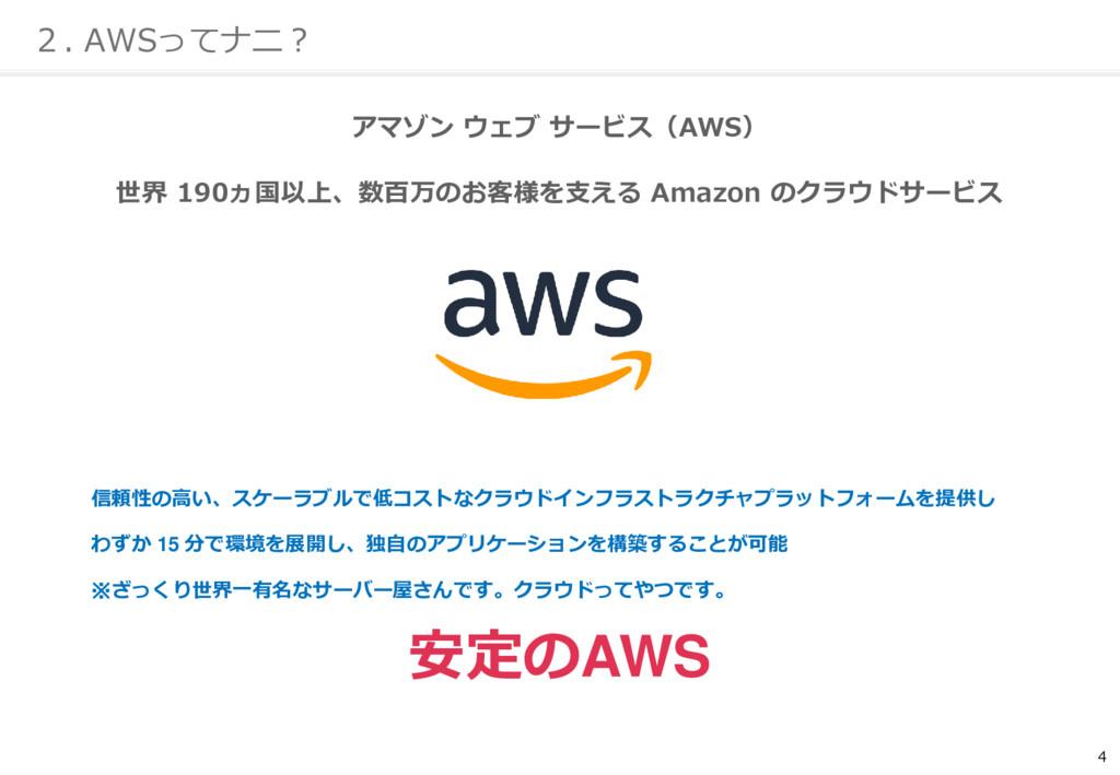 4 2. AWSってナニ? アマゾン ウェブ サービス(AWS) 世界 190ヵ国以上、数百万...